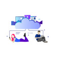 computer device data cloud storage security flat vector image