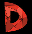 d red alphabet letter isolated on black background vector image