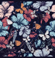 fashion pattern with flowers and butterflies vector image vector image