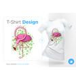 flamingo prints on t-shirts sweatshirts cases vector image vector image