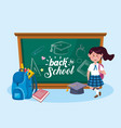 girl student with backpack and graduation cap vector image vector image