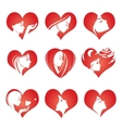 Girls silhouette in hearts icons vector image vector image