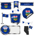 glossy icons with flag of province alberta vector image vector image