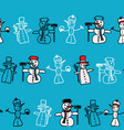 green white snowman and christmas pattern vector image vector image