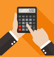 hands holding and using a calculator vector image vector image