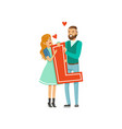 happy couple in love holding red letter l vector image