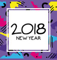 happy new year celebration over figures background vector image