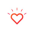 heart sun shine line icon shining heart isolated vector image vector image