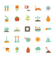 isolated gardening flat style icon set vector image vector image