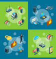 isometric data and computer safety icons vector image vector image