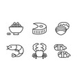 japanese cuisine dishes set asian food line icons vector image vector image