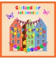 Old houses gift and festive garland decoration vector image