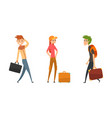people traveling set male and female tourist vector image