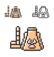 pixel icon nuclear power plant in three vector image