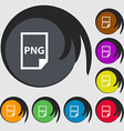 PNG Icon sign Symbols on eight colored buttons vector image