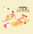postcard template with couple dressed in swimwear vector image vector image