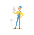 professional electrician man character standing vector image vector image