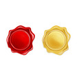 red and golden wax seal isolated on transparent vector image