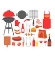set barbecue grilled food vector image