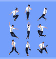 set businessman dancer in different poses male vector image