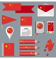 Set of stationety icons with flag elements China vector image vector image
