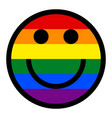 smiling face smiley icon lgbt rainbow flag vector image vector image