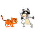 thief cat and a victim on white background vector image
