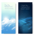 two nature contrasting sky banners - day vector image vector image