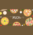 various type of pizza such as seafood vector image
