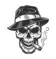 vintage skull gangster concept vector image vector image