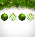 Christmas balls on pine branches with chains on vector image
