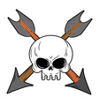 Skull and arrow from bow Symbol death of head vector image