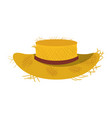 white background with straw hat with ribbon vector image