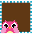 Cute owl baby girl arrival card vector image