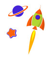 a rocket in outer space stars and planets flat vector image