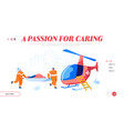 ambulance medical staff service landing page vector image vector image