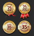 anniversary retro golden labels collection 35 vector image vector image