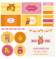 Baby Shower Owl Party Set vector image vector image