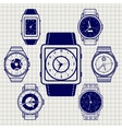 Ball pen watch icons set vector image vector image