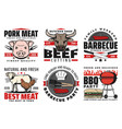 barbecue meat bbq icons and signs vector image