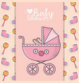 bashower pink pram with socks and rattle vector image vector image