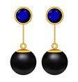 black pearl earrings mockup realistic style vector image vector image