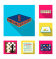board game flat icons in set collection for design vector image