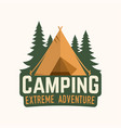 camping extreme adventure vector image