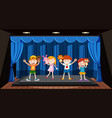children play hand puppet on stage vector image