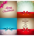 Christmas decoration Set - ribbon bow with bokeh vector image