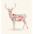 Christmas reindeer composition vector image vector image