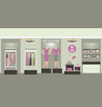 clothing interior shop with products on shelves vector image vector image