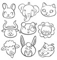 collection stock of animal head doodles vector image vector image