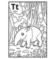 coloring book colorless alphabet letter t tapir vector image vector image